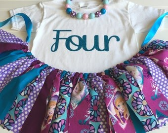 Frozen Birthday Skirt - Frozen Fabric Tutu - Girl Birthday Outfit - Baby Girl Birthday Outfit - Frozen Birthday - Frozen Birthday Skirt