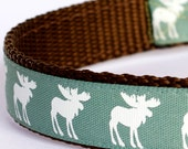 Moose Silhouettes Dog Collar, Green Pet Collar, Cabin Chic Collar