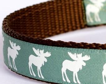 Moose Silhouettes Dog Collar, Green Pet Collar, Cabin Chic Collar