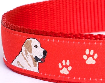 Golden Retriever Dog Collar, Red Pet Collar, Paws Print Collar, Lab