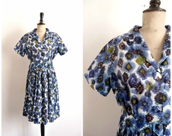 Vintage 50s/60s Blue Day Dress Patterned Abstract TERGAL / Size S M