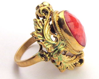 Vintage Nicky Butler,Ruby Ring,Gold Plated, Sterling Silver Ring,Genuine Ruby, Precious Gemstone Ring,Large Stone Ring,Red Faceted Ruby Ring
