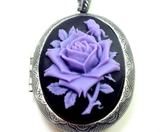 Christmas Sale, Large Cameo Locket, Lavender Rose, Onyx Black, Resin Cameo, Gothic Style, Classic Pendent, Gunmetal Locket