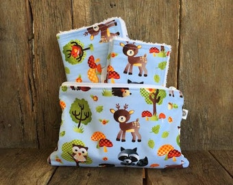 BABY GIFT SET | Set of two Chenille Burp Cloths, Set of four Wash Cloths, Zipper Bag, Forest Animals