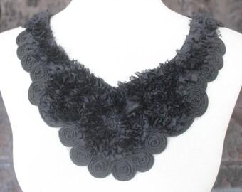 Cute embroiderd  chiffon  flower    applique black color    1 pieces listing