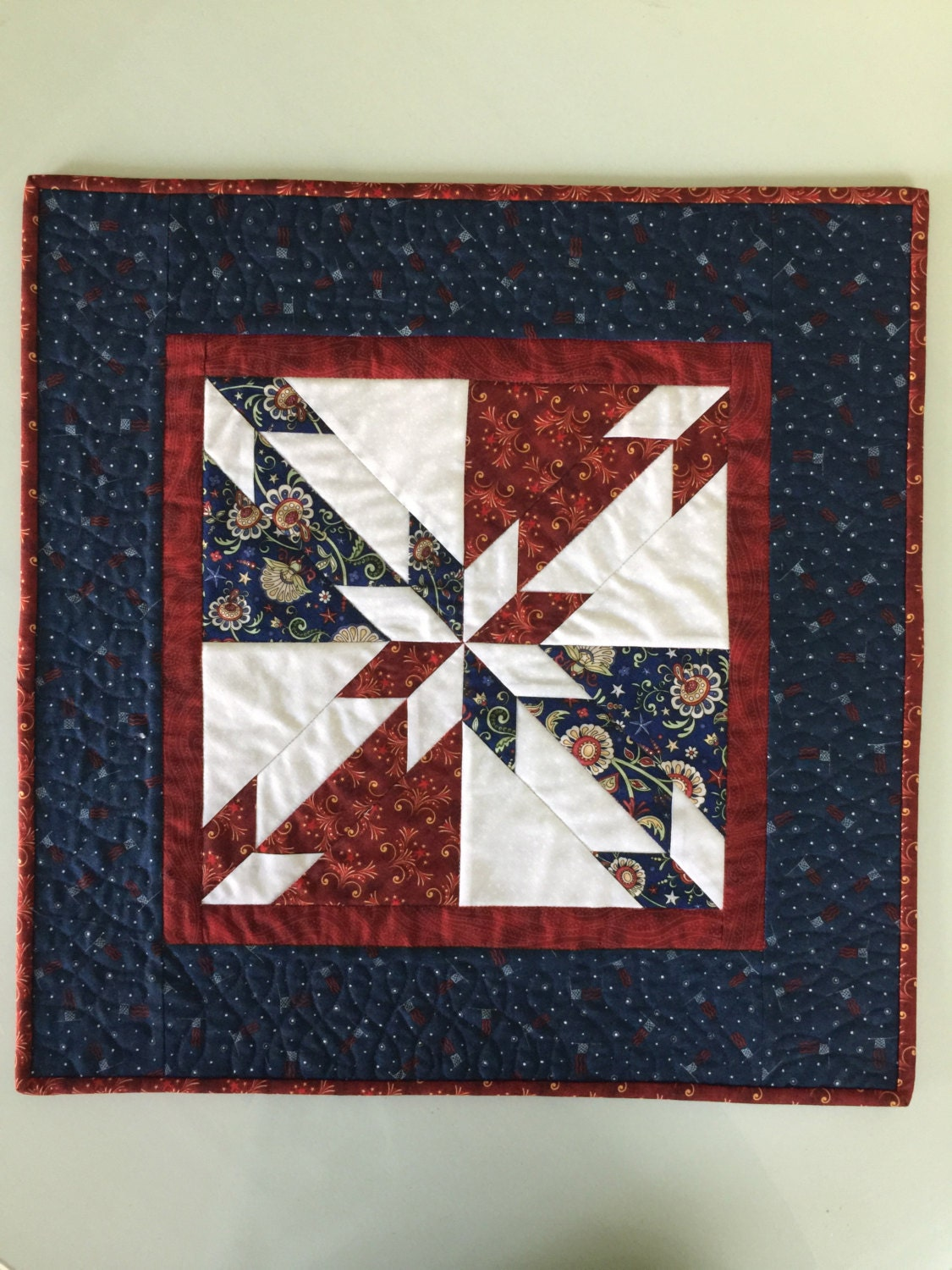 Patriotic Americana Red White Blue Star Quilted Table Topper