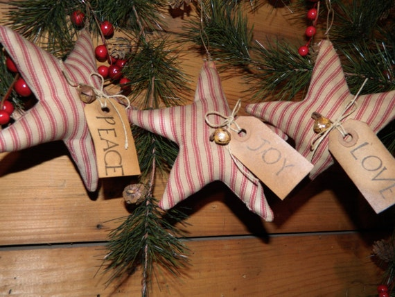 Primitive Ticking Fabric Christmas Star Ornies With Tags And Hangers-Set Of 3-FAAP