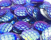 50pcs 12mm Cabochon - Purple Round Flat Back Scales - Wholesale Jewelry Findings - Mermaid Beads - Fish Dragon Supplies - Fantasy Supplies
