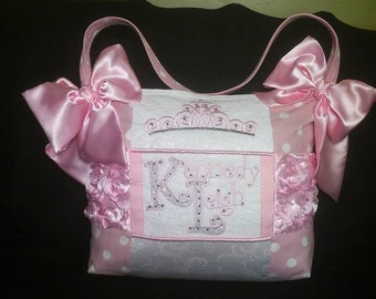 Baby Girl I'm a Princess Tiara Light pink Rosette Diaper Bag White lace Huge Satin Bows 3 pockets light pink polka dots crown cotton liner
