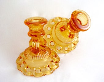Vintage Westmoreland DORIC LACE Amber Glass Candlesticks Candle Holders Pair - Free USA Shipping