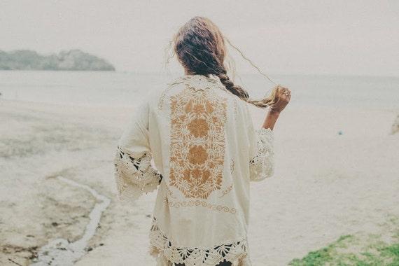 SALE Wedding Embroidered Robe Beige Frida Kimono