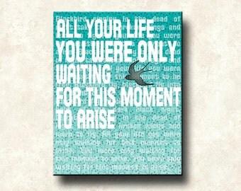 Beatles Lyrics BLACKBIRD Contemporary Word Art Print - 16x20 gallery wrapped canvas -  Motivational, also as card, print, multiple sizes