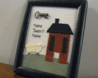 Home Sweet Home Primitive Wool Saltboxbox House and Sheep Antique Key Framed