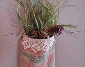 Christmas wall tote upcycled from sugar burlap bag