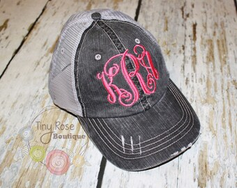 Monogrammed Trucker Hat, Vintage Black Trucker Hat - Personalized Ball Cap, Mesh Trucker Hat