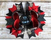 Star Wars Inspired Bow Darth Vader Inspired Bow Bottle Cap Bow Girl Hair Bows Boutique Bow Baby Girls Hair Accessories