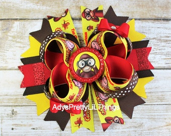 Curious George Inspired Bow Monkey Bow Bottle Cap Bows Girls Boutique Bows Red Bows Hair Clip Baby Girls Hair Accessories