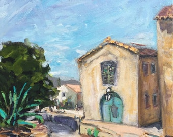 """Village in provence  10""""x10"""" original acrylic on canvas painting of houses summer"""
