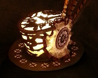 Steampunk Illuminated Mini Top Hat. Leather and linen Lamp Hat