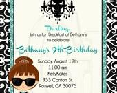 Breakfast at Tiffany Inspired Birthday Invitation-Digital File