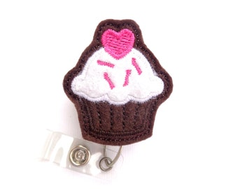 Badge reel Retractable badge holder - Sweet Treat Chocolate Cupcake badge reel - brown and white felt - nurse badge reel medical badge reel