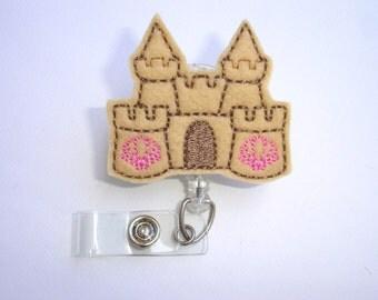 Cute badge reel Retractable badge holder - Sandcastle Days - felt sand castle - nurse badge reel medical badge holder
