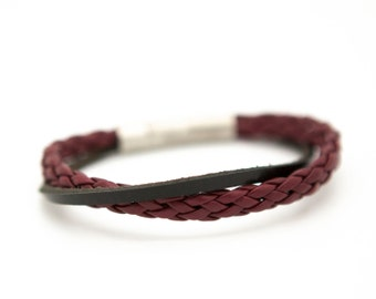 Braided leather cuff, Father's Day gift, burgundy leather cuff bracelet - the Django