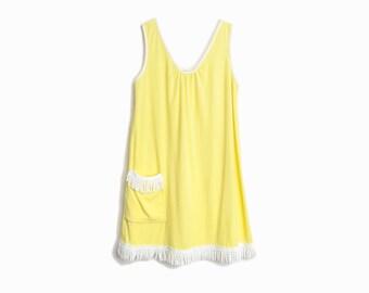 70s Vintage Fringed Beach Dress in Buttercup Yellow / Terry Cloth Dress / Beach Coverup - women's medium