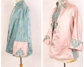50s 60s Vintage Pale Pink and Turquoise Blue Silk Satin Chinese Jacket Reversible Mandarin Cheongsam Coat Medium Large