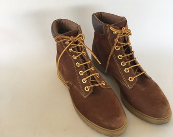 Leather lace up hiking boots Amazonas Brazil rubber sole brown suede 90s Lace Up Work Hunting ankle Boots women size 9 M Cathy Jean