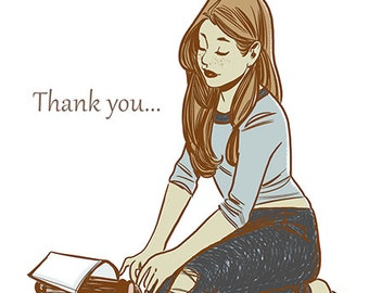 Original Illustrated Thank You Card , homemade