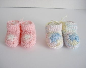 Preemie Premature Very Little Small Baby Infant Crochet Pink and Multicolor Pastel Star Booties Set of 2 Great for Preemie Twin Girls