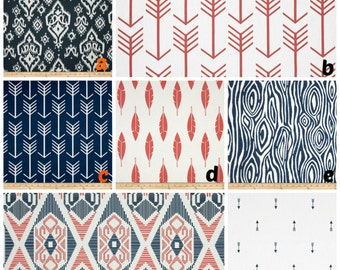 Custom Crib Bedding Navy Coral Tribal Arrow Damask Fether Aztec Bumper,Skirt,Fitted Sheet,BlanketChanging pad