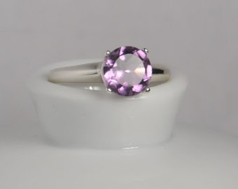 Pink amethyst gemstone ring US size 6, with sterilng silver and 8mm round cut natural pink amethyst, February birthstone ring