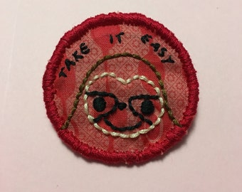 Sloth Merit Badge Pin Take It Easy Brooch Hand Embroidered