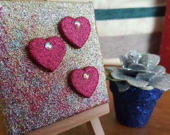 Glitter Mixed Media mini canvas Original Abstract Artwork no. 9 Pink Hearts on Gold