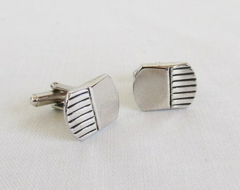 Mid Century Cuff Links - Silver-tone with Engraved Design Lines