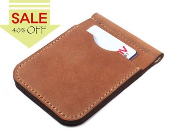 SALE >> Only One Left >> Hand-stitched leather money clip in camel
