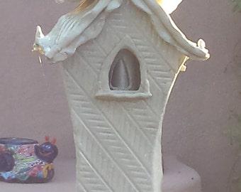 CLAY TOTEM-Shrine Zen House, Garden Art, Landscape Sculpture,Outdoor Art, Handmade, Free Shipping