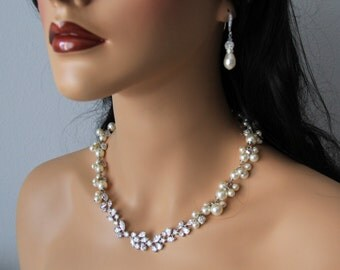 CZ Swarovski pearl wedding, bridal jewelry, wedding necklace, bridal necklace, pearl necklace earrings, swarovski pearls rhinestones brooch
