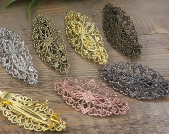 10 Hair Barrettes- Brass Bronze/ Silver/ Gold/ Rose Gold/ White Gold/ Gun-Metal Plated 35x80mm Filigree Floral Barrette Base Setting- Z7296