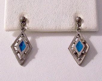 Diamond Bead Pierced Stud Earrings Silver Vintage Open Slotted Dangle