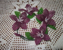 French Beaded Flowers Clematis Candle Ring