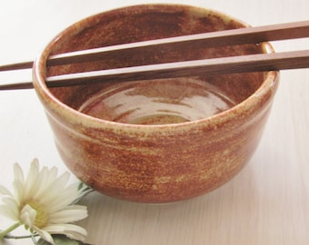 Rice Bowl, Ceramic Pottery, Noodle Bowl with Chop Sticks, Handmade Stoneware  Pottery Albany Slip Glaze