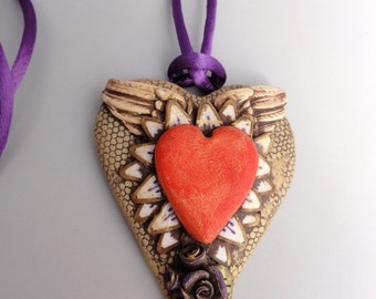 Purple Sacred Heart pendant by MarieSegal