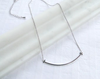 Silver bar necklace, layering delicate necklace, minimalist jewelry, gift for her
