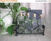 Happy 4th with 40% Off Glass Bottle Set of 4 with Metal Rack / Bottles for Flavored Oils, Vinegars / Corked Bottles for Kitchen, Bath or Hom