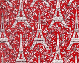 Michael Miller Eiffel Tower Red Rouge fabric - 1 yard