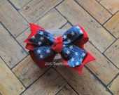 Double layer classic bow...red with starts jean ribbon