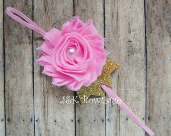 Shabby Headband - pink and gold....newbon....baby...photo prop